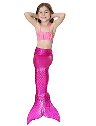 cheap -The Little Mermaid Bikini Swimwear Kid's Christmas Masquerade Festival / Holiday Halloween Costumes Green Blue Pink Fuchsia Solid Colored