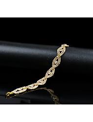 cheap -Women's Cubic Zirconia Rhinestone Chain Bracelet - Vintage Elegant Circle Gold Bracelet For Wedding Evening Party