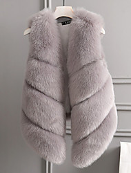 cheap -Women's Vintage Plus Size Faux Fur Vest - Solid