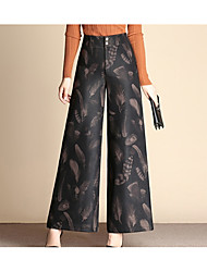 Damer Vintage Uelastisk Bredt Bukseben Bukser,Højtaljede Polyester Blomstret Geometrisk Efterår