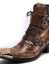 cheap -Unisex Shoes Nappa Leather Winter Fall Combat Boots Motorcycle Boots Fashion Boots Boots Mid-Calf Boots for Casual Party & Evening Gold