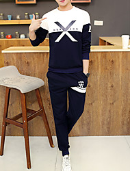 Herrer Afslappet/Hverdag Simple Petit Sweatshirt Farveblok Rund hals Uden Foer Polyester Elastisk Langt Ærme Vinter Efterår