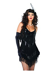 cheap -The Great Gatsby 1920s Costume Women's Flapper Dress Party Costume Cocktail Dress Black Vintage Cosplay Polyster Sleeveless Lolita Short