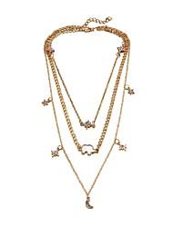 cheap -Women's Multi Layer Hypoallergenic Star Rhinestone Zircon Pendant Necklace - Casual Multi Layer Hypoallergenic Elephant Moon Star
