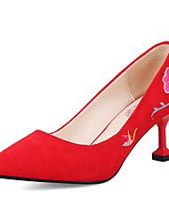 preiswerte -Damen Schuhe Nubukleder Frühling Herbst Komfort Pumps High Heels Maßgefertigter Absatz Spitze Zehe Satin Blume für Kleid Party &