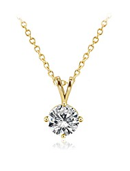 cheap -Women's Lovely Crystal Cubic Zirconia Zircon Gold Plated Pendant Necklace Chain Necklace  -  Fashion Sweet Geometric Gold Necklace For