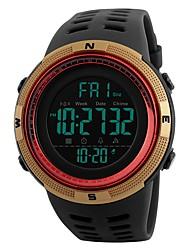Недорогие -SKMEI Муж. Цифровой Спортивные часы Китайский Календарь Защита от влаги Фосфоресцирующий Хронометр С двумя часовыми поясами PU Группа