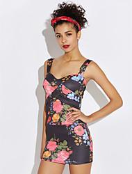 preiswerte -Damen Bodycon Kleid-Lässig/Alltäglich Blumen Gurt Mini Ärmellos Andere Sommer Mittlere Hüfthöhe Unelastisch Undurchsichtig