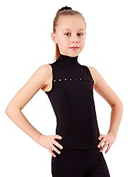 cheap -Figure Skating Top Women's / Girls' Ice Skating Top Black / Fuchsia Spandex Stretchy Performance / Practise Skating Wear Solid Colored