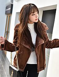 cheap -Women's Casual/Daily Simple Winter Fall Jacket,Solid Shirt Collar Long Sleeve Regular PU Lamb Fur