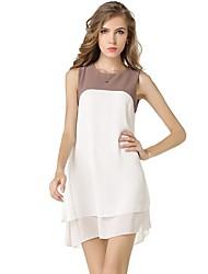 Недорогие -женская работа свободно распутанное шифоновое платье - цветной блок, базовый лоскутное шитье с высокой талией