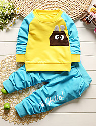 cheap -Boys' Daily Going out Solid Cartoon Clothing Set, Cotton All Seasons Long Sleeves Cute Casual Active Blue Green