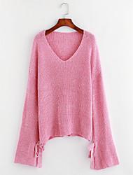 preiswerte -Damen Solide Lässig/Alltäglich Schleife Einfach Pullover Langarm V-Ausschnitt