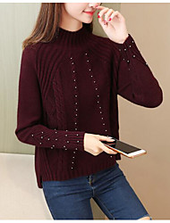 Dámské Jednoduchý Běžné/Denní Standardní Rolák Jednobarevné,Dlouhý rukáv Tričkový Polyester Zima Podzim Tlusté strenchy