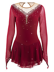 abordables -Robe de Patinage Artistique Femme / Fille Patinage Robes Bourgogne Haute élasticité Concurrence Tenue de Patinage Fait à la main A Bijoux / Strass Manches Longues Patinage sur glace / Patinage