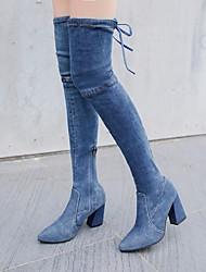 cheap -Women's Shoes Denim Winter Fall Cowboy / Western Boots Boots Chunky Heel Pointed Toe Over The Knee Boots for Casual Light Blue Dark Blue