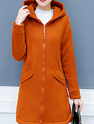 cheap -Women's Daily Casual Winter Fall Coat,Solid Hooded Long Sleeve Long Polyester Oversized