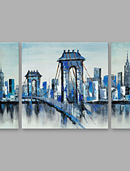 cheap -Oil Painting Hand Painted - Architecture Modern Canvas Three Panels