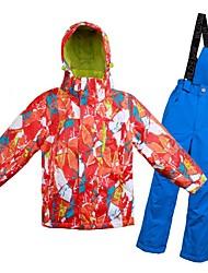 Недорогие -Девочки Мальчики Лыжная куртка и брюки Теплый Вентиляция С защитой от ветра Пригодно для носки водостойкий Катание на лыжах Разные виды