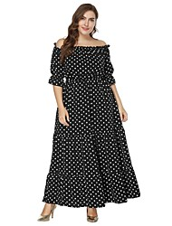 cheap -Women's Beach Boho Swing Dress - Polka Dot Maxi Boat Neck