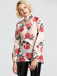 cheap -Women's Going out Street chic Cotton T-shirt - Floral Halter Neck / Spring / Summer / Floral Patterns