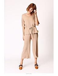 preiswerte -Damen Solide Einfach Ausgehen Pullover Hose Anzüge,Rundhalsausschnitt Herbst Halbarm Acryl