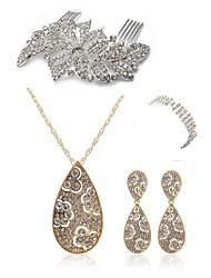 cheap -Women's Rhinestone Imitation Diamond Jewelry Set Body Jewelry 1 Necklace 1 Ring Earrings - Fashion European Drop Hair Combs Bridal