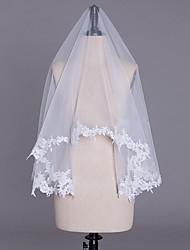 cheap -One-tier Lace Applique Edge Bridal Wedding Wedding Veil Fingertip Veils 53 Laces Tulle