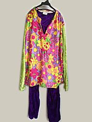 abordables -Hippie Disfraz Hombre Blusa / Falda Pantalones Púrpula Cosecha Cosplay Manga Larga Campana Slips