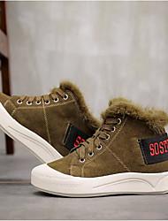 Feminino Sapatos Pele Real Inverno Outono Conforto Tênis Sem Salto Ponta Redonda Botas Curtas / Ankle para Casual Preto Khaki
