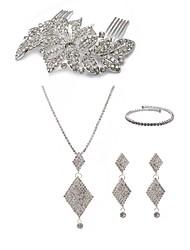 cheap -Women's Rhinestone Imitation Diamond Jewelry Set Body Jewelry 1 Necklace Earrings - Fashion European Geometric Hair Combs Bridal Jewelry