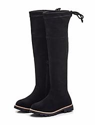 Dívčí Obuv Semišování Zima Módní obuv Boty Nad kolena pro Ležérní Černá