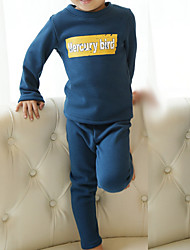 Para Meninos Roupa de Dormir Letra Algodão Manga Comprida Simples Rosa Azul Marinha Amarelo Vinho Cinza Claro