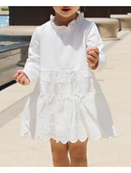 cheap -Girl's Going out Casual/Daily Solid Dress,Cotton Spring Summer Long Sleeves Street chic White