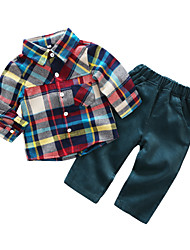 cheap -Baby Boys' Daily Gingham Clothing Set,Leisure Spring/Fall