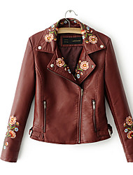 cheap -Women's Vintage Leather Jacket-Embroidery,Print Embroidered V Neck