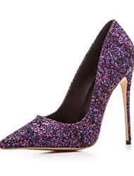baratos -Mulheres Sapatos Couro Ecológico Outono Conforto Saltos Salto Agulha Dedo Fechado Dedo Apontado para Preto Prata Roxo Arco-íris Verde