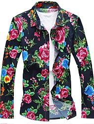 Недорогие -Муж. Рубашка Шинуазери (китайский стиль) Цветочный принт Хлопок