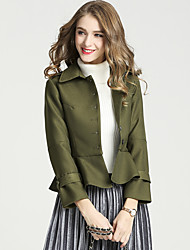 cheap -Women's Casual/Daily Work Simple Street chic Winter Fall Pea CoatSolid Shirt Collar Long Sleeve Short Polyester Ruffle