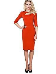 Feminino Bainha Vestido,Diário Para Noite Casual Sólido Decote Redondo Médio Mangas 3/4 Poliéster Inverno Outono Cintura Alta