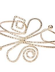 abordables -Femme Plaqué or Bracelets Rigides Manchettes Bracelets - Rétro Large Mode Forme Géométrique Or Bracelet Pour Bar Vacances