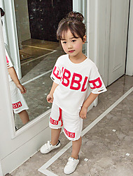 cheap -Girls' Letter Clothing Set, Cotton Summer Short Sleeves Simple White Black Red