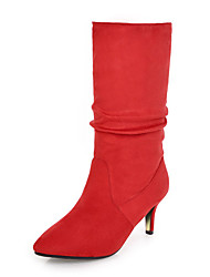 cheap -Women's Shoes Nubuck leather Winter Fall Fashion Boots Boots Stiletto Heel Pointed Toe Mid-Calf Boots Side-Draped for Casual Party &