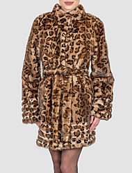 Langt Ærme Krave Damer Normal Leopard Vinter Efterår Kineseri I-byen-tøj Pelsfrakke,Imiteret pels