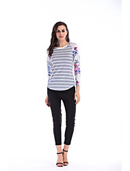 cheap -Women's Puff Sleeve Polyester Spandex T-shirt - Striped Floral Color Block, Cut Out