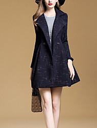 economico -Cappotto Standard Per donna Quotidiano Vintage Inverno, A pois A V Poliestere Con perline