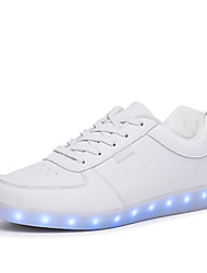 cheap -Unisex Shoes PU Spring Fall Light Up Shoes Comfort Sneakers Walking Shoes Flat Heel Round Toe LED Lace-up for Athletic Outdoor White Black