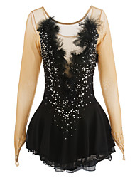 cheap -Figure Skating Dress Women's / Girls' Ice Skating Dress Black Spandex, Lace Rhinestone / Appliques / Feathers / Fur High Elasticity