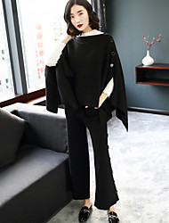 cheap -Women's Going out Casual/Daily Street chic Winter Fall Blouse Pant Suits,Solid Stand Long Sleeve Oversized Knitting Wool Polyester Spandex