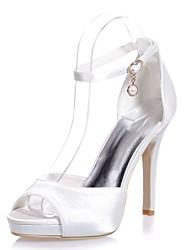 abordables -Mujer Zapatos Satén Primavera / Verano Pump Básico Sandalias Tacón Stiletto Punta abierta Hebilla Rojo / Azul / Marfil / Boda